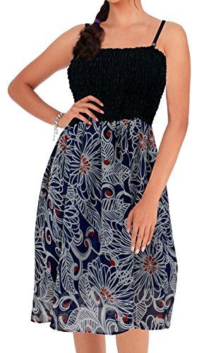 (LA LEELA Chiffon Printed Tie Dye Maxi Tube Halter Dress Navy Blue 933 One Size)