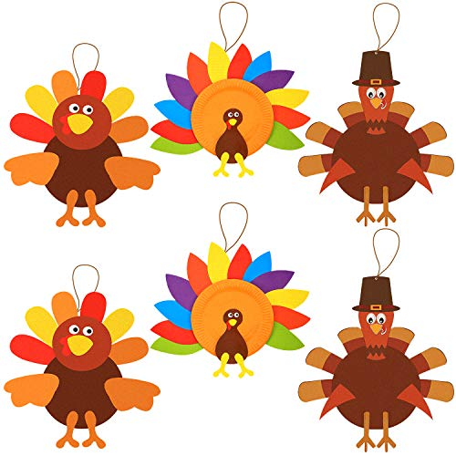 6 Sets Thanksgiving Turkey Craft Kits, DIY Festive Fall Thanksgiving Party Game School Activities and Door Hanging Ornament Decoration Supplies for Kids and Adults