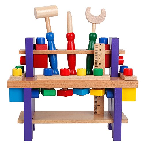 Wooden Workbench with Tools Kids Building Construction Kits Carpenter Play Toys Set