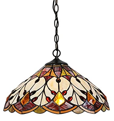 Handcrafted Tiffany Style Pendant Lamp 16 inch Shade Diameter, 55 inch Base Height