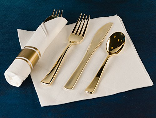 Pre Rollled Cutlery And Napkins Set with Extra Heavy Duty Full Size Polished Gold Cutlery, Fork-Knife-Spoon with White Napkin, Value Pack 60 Count by Lillian Tablesettings (Image #2)