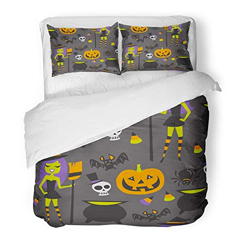 Emvency 3 Piece Duvet Cover Set Brushed Microfiber Fabric Breathable Bat of Retro Halloween Witch Party Candies Cartoon Cat Cauldron Jack Lantern Bedding Set with 2 Pillow Covers Twin Size]()