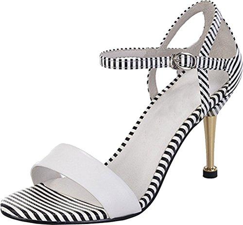 Abby Femmes Mode Stiletto Rayure Mi-talon Sandales Blanc