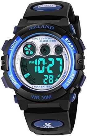 AZLAND Boys Girls Watches Digital Sports Watch Features Night-light,Swim,Frozen,Waterproof, Blue