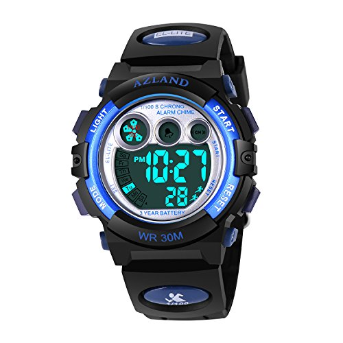 AZLAND Boys Girls Watches Digital Sports Watch Features Night-light,Swim,Frozen,Waterproof Kids Watch, Blue