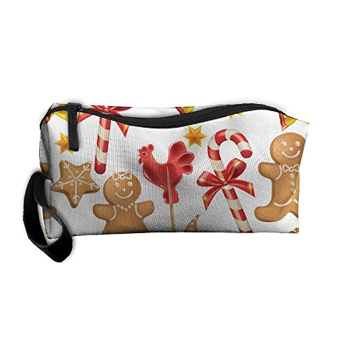 Christmas Candy Biscuits Floral Multifunction Anti-bacterial Scratch Resistant Cosmetic Bag For Ladies Makeup Bag Pencil Pen Case Pencil Case - Floral Biscuit