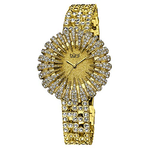 Burgi Crystal Accented Sparkling Dial Women's Watch - Crystal Filled Bezel On Glossy Leather Strap Watch - -