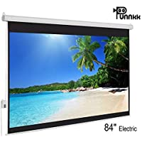 Punnkk E6 Motorized Projector Screen Size -6Ft(Width) X 4Ft(Height), 84 Inches 4:03, with Remote Control,Electric Projection Screen, Active 3D/4K Ultra HD Home Theater