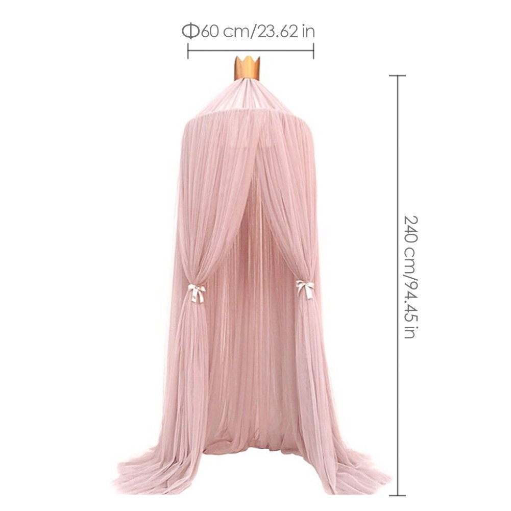 Luerme Dome Fantasy Champion Netting Curtains Play Tent Bed Canopy Mosquito Net Bedding with Round Lace Baby Boys Girls Games House for Kids' Playing Reading (Pink) by Luerme (Image #2)