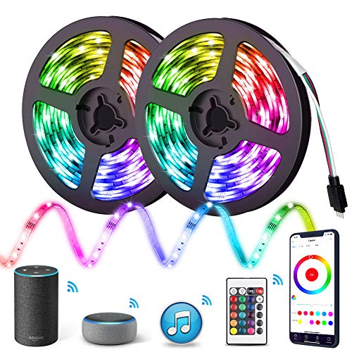 LED Strip Lights, IKERY WiFi APP Control 32ft Smart RGB Light Strips Compatible with Alexa Google Assistant, Music Sync Color Changing Tape Lights for Room, Kitchen, TV, Party, Home Decoration