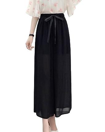 LaoZanA Damen Chiffon Hosen Hohe Taille Elegant Weite Hosen Sommerhosen  Freizeithosen Lose Culotte Hosen Schwarz L ca72d93979