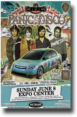 Panic at The Disco Poster Pretty Odd Tour w/ Motion City Soundtrack Car by Concert Promoter