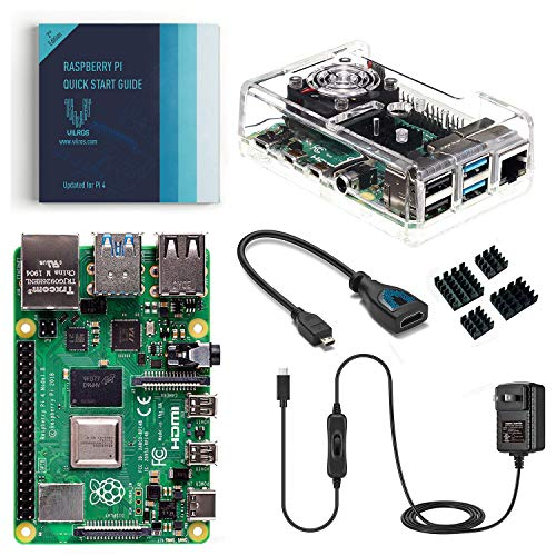 4. Vilros Raspberry Pi 4 Basic Kit with Fan Cooled Case (4GB)
