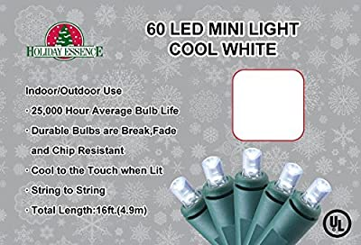 Holiday Essence 60 LED Mini Lights, Cool White - Professional Grade for Indoor & Outdoor Use - Energy Efficient LED Bulbs with Green Wire -
