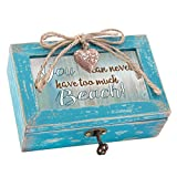 Never Too Much Beach Distressed Teal Blue Petite Wood Locket Music Box Plays You Light Up My Life