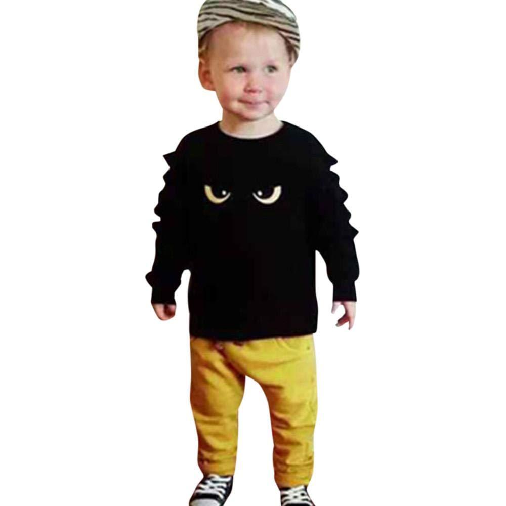 Ragazze Bambini Camicie E Pantaloni Bambini Ragazze Tute Neonati Vestiti Completo 2 Pezzi Set Bambino Bambini Neonato Baby Occhi Stampa Top + Pantaloni Vestiti Set Morwind