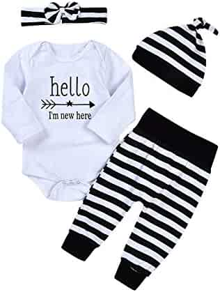 589c21823 Newborn 4pcs Set Outfit Striped Hoodie with Romper Jumpsuit+ Striped Long  Pants and Hat