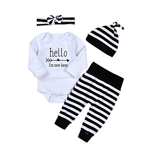 Newborn 4pcs Set Outfit Striped Hoodie with Romper Jumpsuit+ Striped Long Pants and Hat (70(0-3M), Long sleeve)