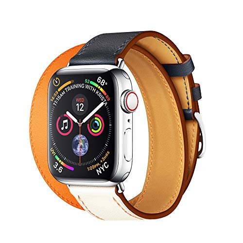 EloBeth Watch Bands Compatible with Apple Watch Band 44mm 42mm Series 5 4 3 2 1 Men Women Leather Replacement iWatch Wristband (42mm/44mm Orange)