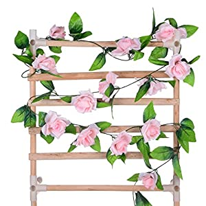 Flower Ivy Garland Artificial Silk Rose Garland,4 Strands Each Strand 7.9FT Fake Flower Ivy Leaf Vine Plants Home Hanging Party Garden Wedding Decor,Pink 3