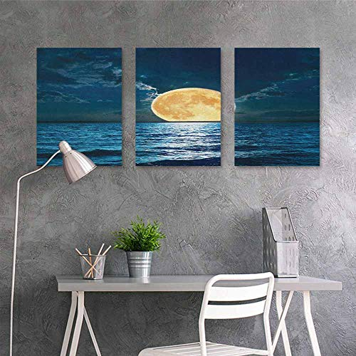 - HOMEDD Canvas Print Artwork Sticker,Ocean Magical Super Moon Over Ocean Surface Midnight View Dreamy Mystic Picture Print,for Home Decoration Wall Decor 3 Panels,16x24inchx3pcs Yellow Navy