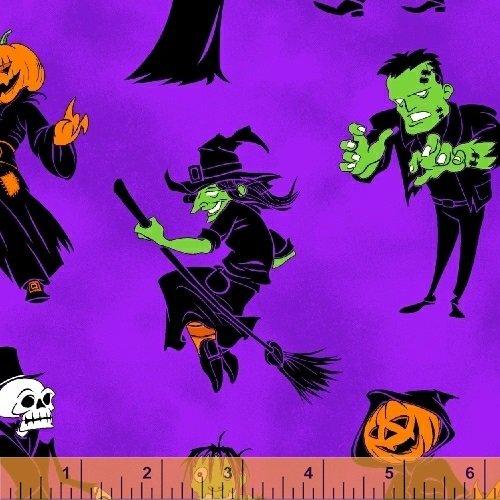1 Yard Ghosts & Ghouls by Whistler Studio from Windham Fabrics 100% Cotton Quilt Halloween Fabric (Goldilocks Halloween)