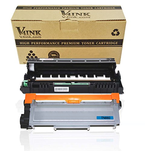 V4INK (1PK Drum + 1PK Toner) New Compatible Brother DR630 Drum Unit + Compatible Brother TN630/TN660 Toner Cartridge Black High Yield Combo Set