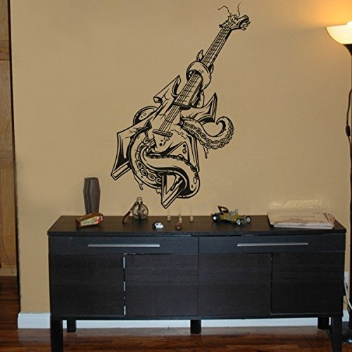 WallsUp Moda Bass Guitarra Decor Pulpo Vinilo Pared Arte Pop Música Heavy Metal Música Teen habitación decoración, Vinilo, Rojo Oscuro, ...