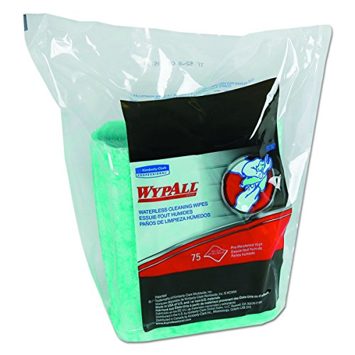 WypAll 91367CT Waterless Cleaning Wipes Refill Bags, 10 1/2 x 12 1/4, 75 per Pack (Case of 6)