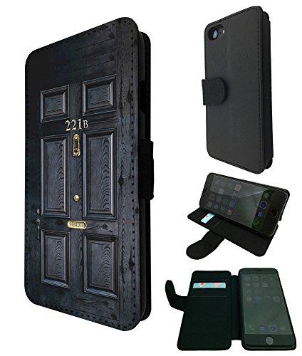 "001564 - 221B Sherlock Door Design iphone 7 Plus 5.5"" Fashion Trend TPU Leder Brieftasche Hülle Flip Cover Book Wallet Credit Card Kartenhalter Case"