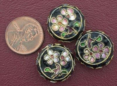 THREE 19MM FLORAL FLAT ROUND CLOISONNE - Flat Beads Cloisonne Round
