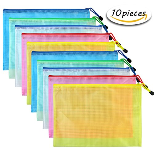 Bantoye 10 Pcs A4 Zipper File Bags, Zippered Waterproof PVC Pouch Plastic Zip Document Filing Folder 5 (Pvc Zipper Bag)