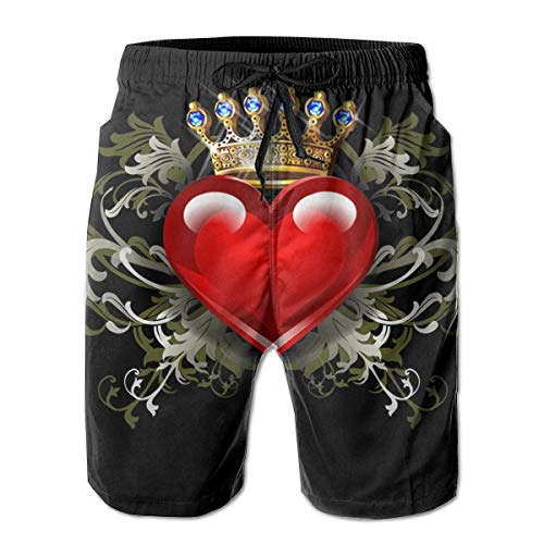 YongColer Comfort Beach Cargo Short for Men, Crowned Love Heart Black Swim Shorts Fast Dry Hip-Pop Half Pants with Drawstring Plus Size Sportwear for Athletic Surf Gym