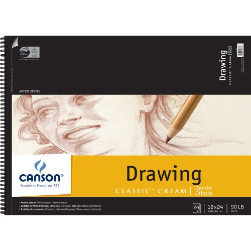 Canson 18-Inch by 24-Inch Classic Cream Drawing Paper Pad, - Cream Drawing Paper