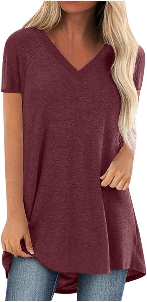LEKODE Women T-Shirt Solid Fashion Casual V-Neck Blouse