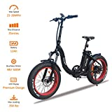 VTUVIA Folding Electric Bicycle With 500W motor And 12Ah Lithium-Ion Battery, 20 Inch Fat Tire E Bike City Mountain E-Bike For Adults (Black Frame – Red Rim) Review