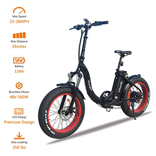 VTUVIA Folding Electric Bicycle With 500W motor And 12Ah Lithium-Ion Battery, 20 Inch Fat Tire E Bike City Mountain E-Bike For Adults (Black Frame - Red Rim)