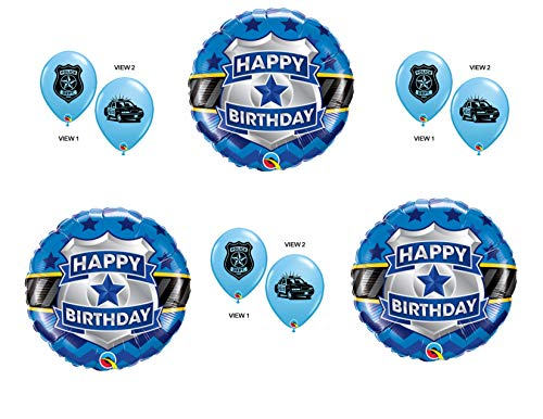 Police Badge 9 pc. Birthday Balloons Decoration Supplies Party Cops Law Paw Patrol Blue Lives -