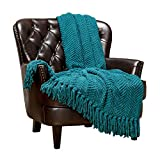 Chanasya Textured Knitted Super Soft Throw Blanket with Tassels Warm Cozy Plush Lightweight Fluffy Woven Blanket for Bed Sofa Chair Couch Cover Living Bed Room Acrylic Throw Blanket (50'x65')- Teal