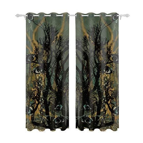 Verna Christopher Curtains Bedroom Eye Tree Halloween Room Darkening Drapes 84 inch Long Living Room Curtain Two Panel ()