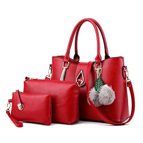main en Femmes Pour Cuir Sac Sac bandoulière 3 à Pochette Vintage Rouge Sacs Noir à Pièces PU xSIwnUTq