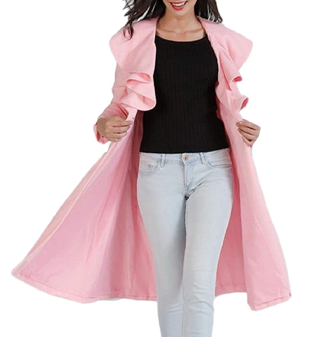 ouxiuli Womens Stylish Ruffer Long Sleeve One Button Woolen Mid-Length Coats