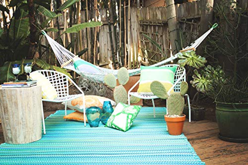 Recycled Outdoor Rugs - Fab Habitat Cancun Indoor/Outdoor Rug,  Turquoise & Moss Green, (6' x 9')