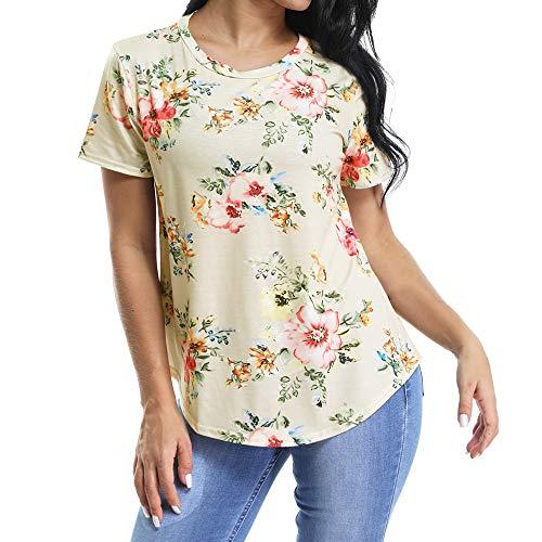 (INWECH Women's Summer Round Neck Short Sleeve Floral Print Asymmetric Hem Shirt Top (Khaki, Medium))