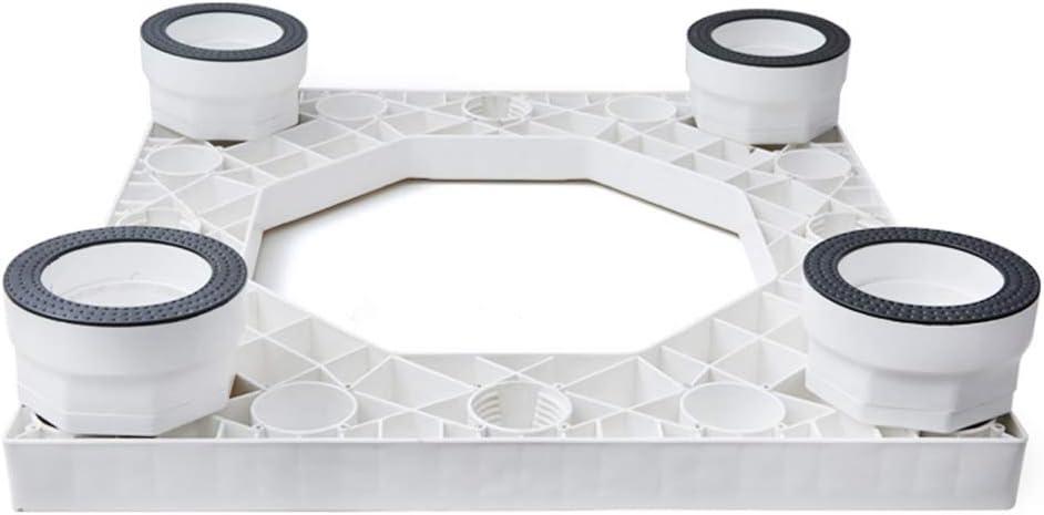 Zhenxinshiyi ユニバーサル洗濯機ベース固定防振可動ユニバーサルホイールパッドハイブラケット、統合パネル隠しモバイル高さはより安定 (Color : White A, Size : No wheels)