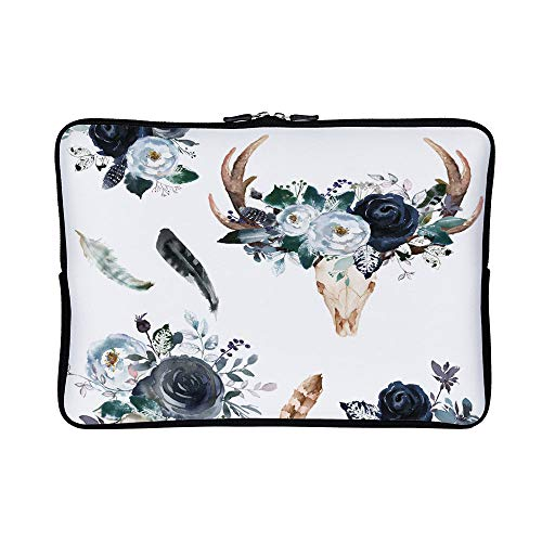 DKISEE Abstract Boho Navy Deer Head Florals Neoprene Laptop