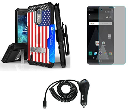 Flag Shield Protector Case - LG Aristo - Accessory Bundle with [American Flag] Tri-Shield [Military Grade] Holster Case, Atom LED, Tempered Glass Screen Protector and 2.1A Micro USB Car Charger
