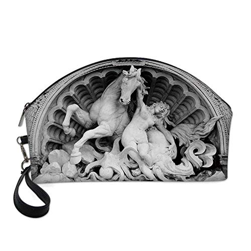 Sculptures Decor Small Portable Cosmetic Bag,A Struggling Nymph with Octopus Seashell Horse in a Lunette Sculpture Art in Bologna For Women,One size