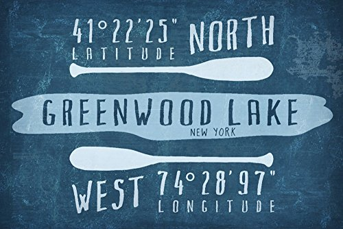 Greenwood Lake, NY - Lake Essentials - Latitude and Longitude (16x24 Giclee Gallery Print, Wall Decor Travel ()