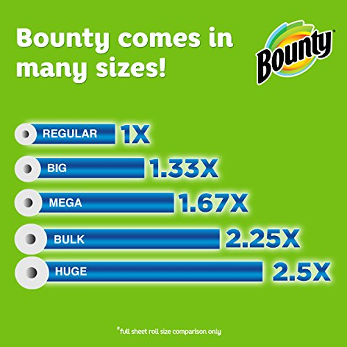 Bounty Full Sheet Paper Towels Giant Rolls: Bounty Paper Towels, Print, 6 Big Rolls = 8 Regular Rolls